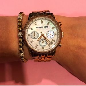 Rose gold Michael Kors pearl face watch